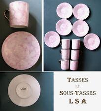"""6 tasses et sous-tasses. Peintes à la main, en porcelaine : """"COLETTE"""" par LSA"""