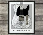 Nashville Tennessee City Map Print, Fender Telecaster Guitar Wall Art,Poster for sale