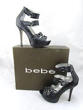$200 BEBE Benetta Black Python Snake Leather Platforms Strappy Sandals Pumps 8