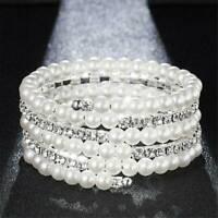 Women Pearl Crystal Rhinestone Stretch Bracelet Bangle Wristband Wedding Jewelry