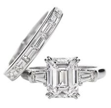 925 Sterling Silver Jewelry Emerald Baguette 2 ct Wedding Set Ring Whit Band
