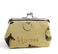 English Horse Tapestry Coin Purse Equestrian Change Wallet Pouch Bag