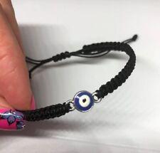 Silver Blue Eye  Black cord Lucky Bracelet Protection Evil Eye
