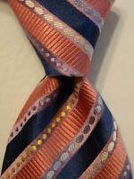 PAUL SMITH Men's 100% Silk Necktie ITALY Luxury Designer STRIPED Pink/Blue EUC