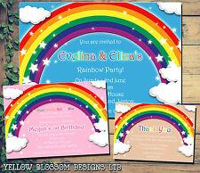 10 Personalised Birthday Party Invites Rainbow Thank You Kids Boy Girl Children