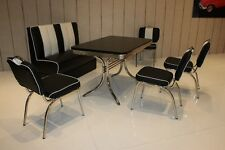 Bank Stuhlgruppe Vegas Paul King 6 American Diner Retro Stühle 6 teilig Schwarz