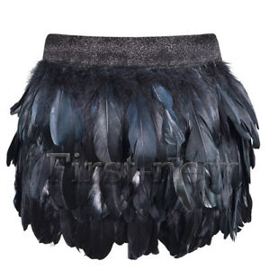 Womens Sexy Goose Natural Feather Mini Skirt Clubwear Party Elastic Waist Skirts