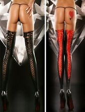 Black Sexy Lace up Leather look Stockings - Pole dancer fantasy fetish (9003)