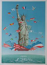 Statue de la liberté Centenaire Portefeuille de Six estampes 1986 Reagan/MITTERRAND 1986