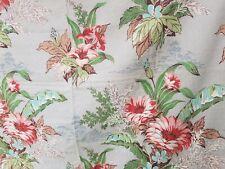 "2 Panels vtg 1940's 1950s pink Floral Bark Cloth Drapes 72"" x 44.5"" on grey Euc"