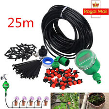 UK 25m Micro Drip Irrigation Kits Timer Flow Watering System Self Plant Garden