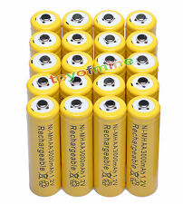 20 x AA 3000mAh rechargeable battery cell yellow