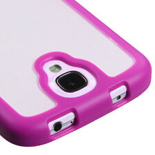 Samsung Galaxy S4 S IV TPU Gel GUMMY Hard Skin Case Phone Cover Hot Pink Clear