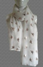 WHITE with ROSE GOLD Foil MANCHESTER BEE Metallic Design Print SCARF Shawl Wrap