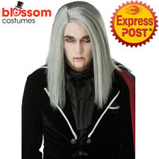 W585 Sleek Vampire Gothic Long Grey Straight Wig Dracula Halloween Costume Hair