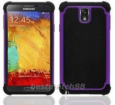 for samsung galaxy note III 3 triple 3  layer hybrid soft hard black purple case