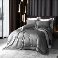 Duvet Cover Bed Sheet Pillowcases Cotton Sateen Embroidered 4Pcs Bedding Set