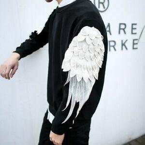 Hot Men Round Neck Wing Long Sleeve T-Shirt Korean Spring Pullover Slim Fit Tops