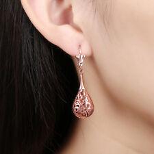Fashion Rose Gold Plated Filigree Teardrop Lever Back Drop Dangle Earrings