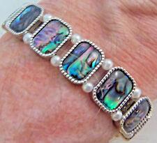 "PAUA Shell abalone Nature's 1 Stretch Bracelet 3/8""W Wheeler Mfg. STB 002 NEW"