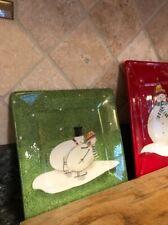 Oneida SNOWMATES Snowman Square Plate By Debbie Taylor-Kerman Green