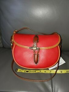 Dooney and Bourke Vintage Small Loden Saddle Bag in Red