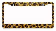 Bling Brown Leopard Diamond License Plate Frame