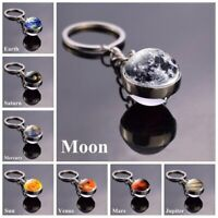 Glow in the Dark Galaxy System Key Chain Double Sided Glass Dome Planet Keyring