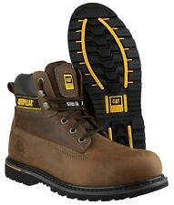 Mens Caterpillar Holton SB Safety Steel Toe Cap Lace up Work BOOTS Sizes 7 to 15 UK 10 Brown