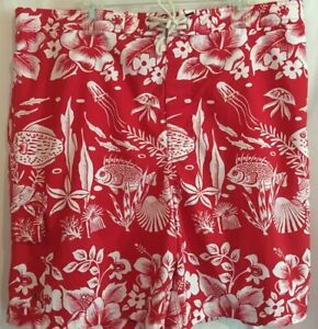 Polo Ralph Lauren Swim Trunks Board Shorts Sz 2XB Red White Tropical Print NWT