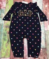 Baby Gap Girls 3-6 Months Navy Blue & Bright Polka Dot Romper Jumpsuit. Nwt