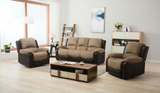 Marsha Fabric Reclining Sofa Set Brown and Beige Recline 3 1 1 Armchairs