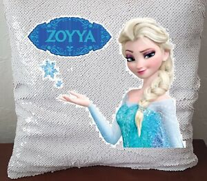 Personalised Frozen Elsa Sequin Magic Cushion 40cm x 40cm with/out inner