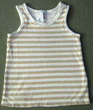 New babyGAP Size 3T Beige White Striped Ruffles Neckline Sleeveless Tops ~ Shirt