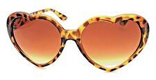 Ladies SUNGLASSES Tortoiseshell Brown Big Heart Shaped Frames Brown Lenses