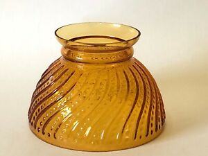 "Vintage GWTW 6"" Fitter Yellow Amber Hobnail Swirl Glass Hurricane Oil Lamp Shade"