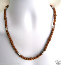 "AFRICAN ETHNIC INSPIRED MENS BROWN WOOD SILVER 20"" SHORT THIN WOOD BEAD NECKLACE"