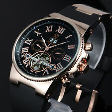 Mens Watch Automatic Mechanical Black Silicone Band Tourbillion Design Skeleton