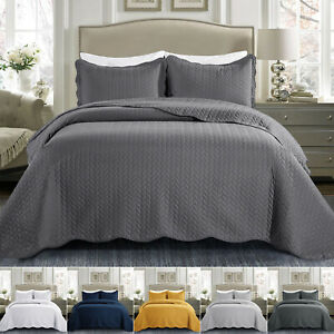 Luxury Embossed Quilted Bedspread 3 PCs Double King Bed Throw Set W Pillowcase