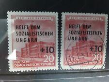 East DDR 1956 fondo de alivio socialista húngaro sobreimpresa Menta y utilizado E237