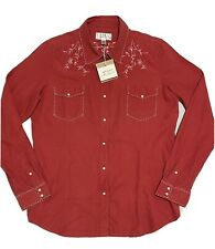Ryan Michael Womens Large Red Western Shirt Whip Stitch Silk Blend Pearl Snaps