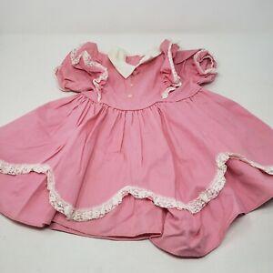 Vintage Ruffles Lace Circle Skirt Twirl Baby Doll Dress Girls 6-12 Months Pink