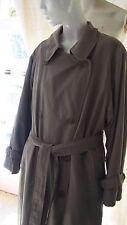 Womens BROOKS BROTHERS Khaki Long Belted Trench Coat Size 12 Large Raincoat LG L