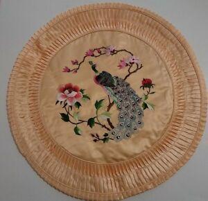 """Vintage Satin Asian Embroidered Oriental Round Throw Pillow Cover 18"""" Orange"""