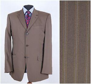 GOLDMANN Mens Size UK 42L Vintage Brown Striped Sport Coat Blazer Jacket