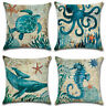 Sofa 18'' Cover Pillow Cotton Case Linen Turtle Home Cushion Decor Animal Throw