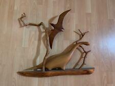 Vintage Wooden Dinosaur Sculpture Modern Art 80s Live Edge Driftwood Decor Boho