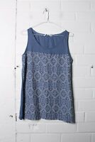 Fatface Womens Sleeveless Patterned Fabric Vest Top - Blue - Size 10 - (L-R7)