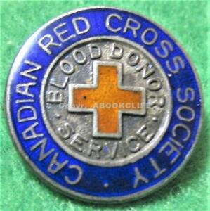 CANADIAN RED CROSS SOCIETY STERLING SILVER BLOOD DONOR SERVICES 1940's Pin EXC.