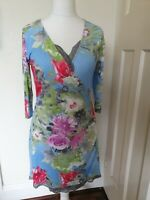 Joe Browns Floral Cross Over Lace Trim Dress Size 12